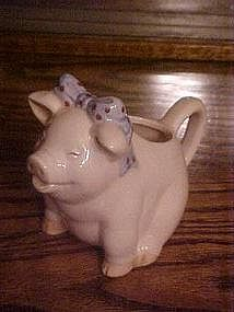 Darling  pink pig creme pitcher