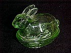 Le Smith Bunny Rabbit covered candy dish, green