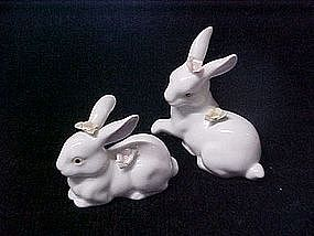 Fine porcelain rabbit figurines with roses