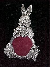 Pewter bunny rabbit picture frame