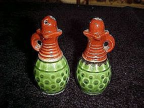 Ceramic wine carafe  salt and pepper shakers
