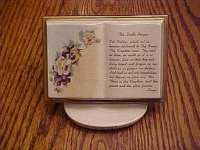 Lords Prayer book with stand. pansys and violets