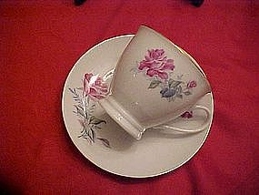 Pink rose pattern china cup and saucer set