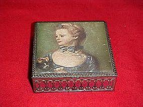 Rembrandt girl silk top, vintage metal jewelry box