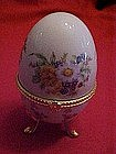 Porcelain egg, trinket box with flowers