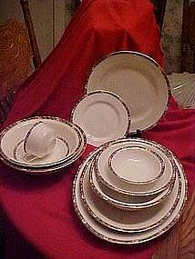 W.S. George China pieces, blue band, pink roses