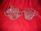 Lead crystal creamer and covered sugar bowl