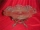Wexford Crystal fruit stand, on brass dolphin legs