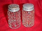Waffle pattern salt and pepper shakers, Anchor Hocking