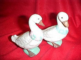 Unglazed porcelain geese salt and pepper shakers
