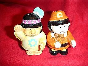 Russ, Pilgrim and Indian  salt and pepper shakers