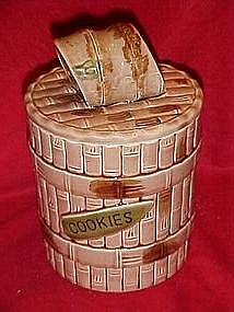 Vintage ceramic bamboo cookie barrel