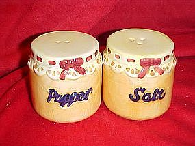 Country jam jars, salt and pepper shakers