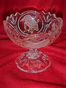 Lead crystal candy compote with  frosted birds