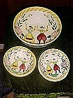 Happy folk, hand painted Quimper look, salad set