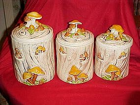 Vintage Treasure craft Stump & mushrooms cannisters
