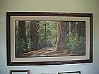 Redwoods Road, by Florence Sackett, framed oil