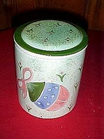 Christmas cookie treat jar, hand painted ornament decor