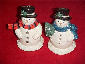 Snowman salt and pepper shakers, with gold snowflakes