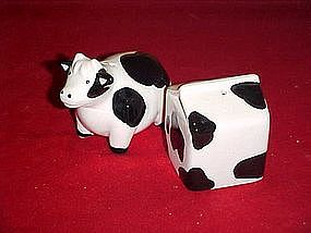 Cow and milk carton, salt and pepper shakers