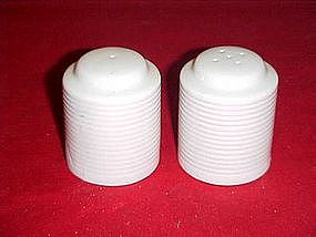 White porcelain spool  salt and pepper shakers