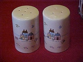 Homespun farm scene salt and pepper shakers