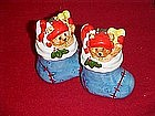 Stockings filled with toys,  salt and pepper shaker set