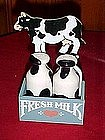 Cow and crate/ milk bottles/ salt and pepper shaker set