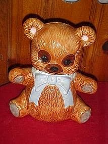 Cute little brown teddy bear, cookie jar