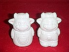 Blank farmer cow salt and pepper shakers, white china