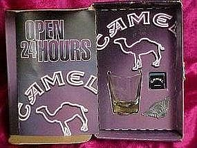 Camel set, shot glass, pin and cue chalk, mint in box