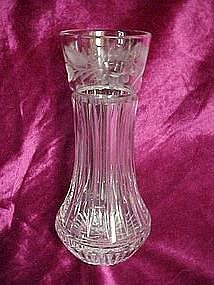 Heavy crystal vase with floral cuttings, very nice