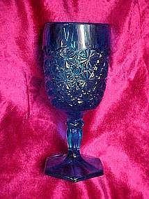 L.E. Smith daisy & button stemmed goblet,  peacock blue