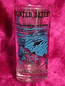 Arizona souvenir drinking glass, painted desert & sites
