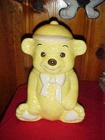 Treasure Craft yellow bear in cap, cookie jar, BIG!