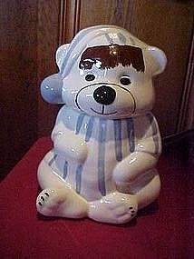 Bear in pajamas and nite cap, cookie jar