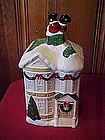 Home Interior House cookie jar, Santa stuck in chimney