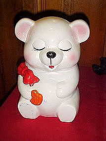 Blushing teddy bear cookie jar