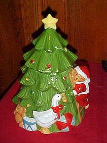 Santa Bear decorating Christmas tree, cookie jar