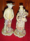 Large bisque figurines Farmer and wife