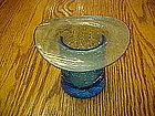 Blue crackle glass hat, Blenko??