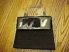 Black silk and patent leather purse, lucite handle