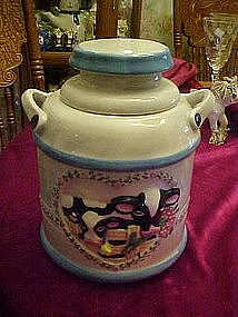 Milk can cookie jar with cows, heart and roses