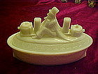 Uncle Sam on the Merrimac, milk glass candy container
