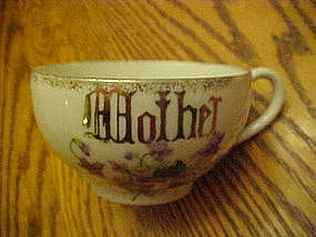 "Large oversized  china ""Mother"" coffee cup with violets"