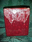 Gonder Ceramics art vase, maroon square with drip edge