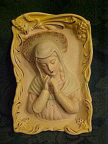 Sculpted  bisque Madonna wall figurine