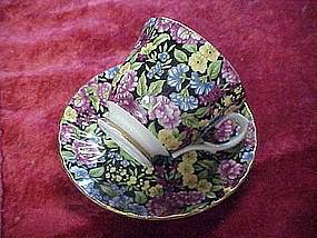 Marlborough black chintz cup and saucer, England