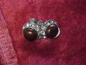 Vintage rhinestone earrings with brown centers