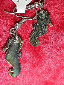 Abalone seahorse earrings for pierced ears